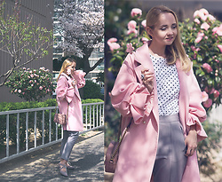 Olga Choi - Romwe Coat, Gucci Bag - Puff sleeves & polka dot