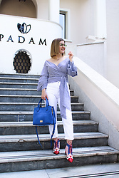 Arjena Duci -  - Striped Shirt & Electric Blue Bag