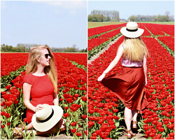 Daphne G - Steps Dress, H&M Hat, H&M Skirt - Red tulips