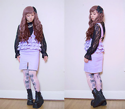 Lovely Blasphemy - Abc Une Face Black Lace Blouse, Acryl Agitt Cat Over The Knee Socks, Swankiss Purple Jumperskirt, Demonia Shaker 52 Black Wedge Platform Boots, Lockshop Wigs Wavy Mermaid Chocolate Cherry - As soon as you trust yourself, you will know how to live