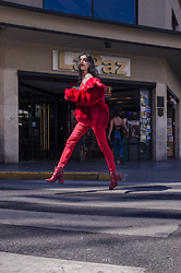 Agustina Torti - Forever 21 Oversized Faux Fur Jacket, Forever 21 Red Patent Boots, Asos Red Stretchy Pants - How to wear a monochromatic look like a PRO