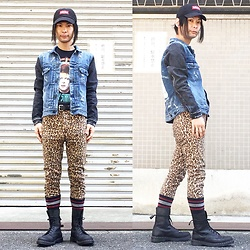 @KiD - Lally Joe Cap, Neuw Denim Thrash Metal, David Bowie Ziggy Stardust, Cheap Monday Leopard Skinny, Dr. Martens Combat Boots - JapaneseTrash364