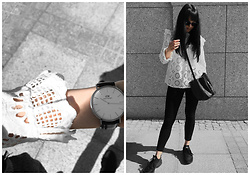 Izabela - Daniel Wellington Dw Watch, Zara Embroidered Blouse, Zofia Chylak Bucket Bag, Nike Huarache, Christian Dior Abstract Sunnies - EMBROIDERED BLOUSE
