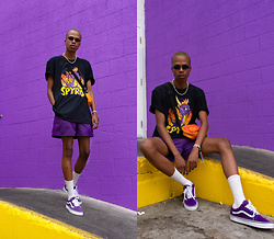 Dominic Grizzelle - Urban Outfitters Spyro Tee, Patagonia Purple Shorts, Vans Old Skools - SPYRO Coachella