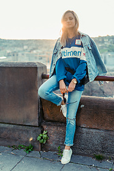 Adriana M. - Alltimers Skateboarding Blouse, Levi's® Vintage Denim Jacket, Uniqlo Cigarette Jeans - Living in a moment.