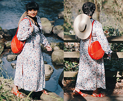 Ragini R - Glamorous Floral Wrap Maxi Dress, Ban.Do Amigo Bag, Handmade Wide Brim Straw Hat, Asos Finley Sandal - Here comes the sun