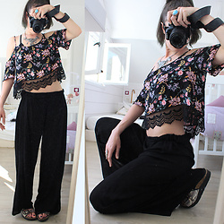 ♡Nelly Kitty♡ - H&M Crochet Floral Crop Top, Undiz Black Palazzo Pants - OOTD#29