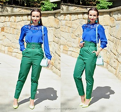 Natalia Uliasz - Rosegal Earrings, Tosave Blouse, H&M High Waisted Pants, Dresslily Bag, Neon Heels - Color blocking