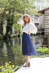 Holly Read - And Other Stories Polka Dot Midi Skirt, Zara Cropped Top With Wide Quarter Length Sleeves, Zara Mary Jane Heels - Down by the river