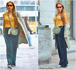 Kintan T - Zara Retro Sun Glasses, H&M Chocker Long Sleeve In Gold Color, Italian Outlet Trench Coat, H&M Velvet Flare Pant, Lookit Crossbody Bag In Khaki, Deichmann Velvet Ankle Boots - WHO'S THE BIRTHDAY GIRL??