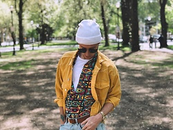 William Dober - H&M Tortoise Shell Sunglasses, Topman Crew Neck T Shirt, H&M ❤️ Coachella, &Denim Denim Coat, Fossil Gold Watch, Magic Headwear Beanie - PDX - 🌲🦌🌤
