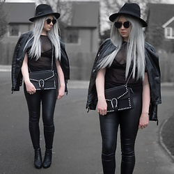 Sammi Jackson - Primark Black Fedora, Zaful Sunglasses, Shein Biker Jacket, My Depop Mesh Top, Primark Bralet, Miss Pap Jewelled Bag, Primark Faux Leather Jeans, Office Chunky Ankle Boots - FAUX LEATHER, MESH + JEWELS