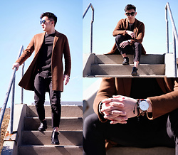 Haikang - Zara Camel Coat, Gentle Monster Sunglasses, Steve Madden Shoes, Ny Incredibles Watch - Camel + Spring