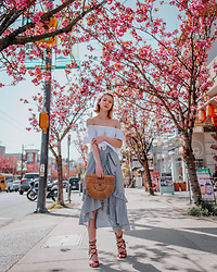 Arielle - Bp Ruffled Skirt, Zara Lace Up Sandals, Cult Gaia Ark Bag, Bershka Off The Shoulder Top - Cherry Blossom Girl