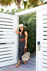 Kat Tanita - Audrey 3 + 1 Stripe Jumpsuit, Treasure & Bond Leather Belt, Figue Stevie Tuk Tuk Basket Tote, Janessa Leone Alexander Fedora, Splendid Strappy Sandals, Ashley Pittman Light Horn & Bronze Stacking Bangles - Spring Break in Miami