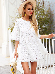 An Koko - Thebadoutfit White Cotton Mini Dress - Summer Perfect Broderie Dress