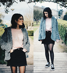 Adriana R. - Zaful Lazy Pink Sweatshirt, Zaful Black Denim Skirt, Vans Old Skool - Lazy Pink Sweatshirt / Black Denim Skirt