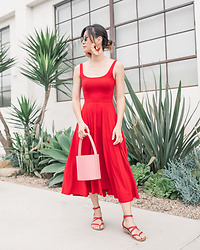 Elizabeth Lee (Stylewich) - Reformation Rou Dress, Staud Bissett Bucket Bag, K. Jacques Epicure Sandals - Little Red Dress