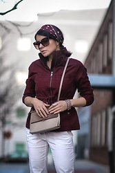 Isabel Alexander - Old Navy Burgundy Utility Jacket, Ann Taylor Loft White Denim Pant, Hieleven Tan Crossbody Suede Bag, Aritzia Silk Head Band, The Dark Shop Triple Chain Bracelet - Brunch outfit