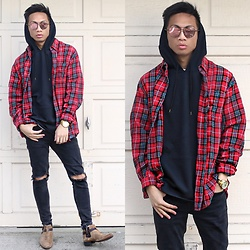 Paul Zedrich - Hawker's Co Sunglasses, Fear Of God Plaid Shirt, Urban Outfitters Short Sleeve Hoodie, Zara Ripped Jeans, Asos Chelsea Boots - Fear of G O D.