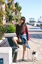 Noemí Puig - Hawkers Sunglasses, Zaful Sweater, Zara Jacket, Shein Skirt, Mustang Sneakers - BURGUNDY WITH PEARLS