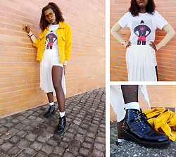 Yara Snow'z - Bershka Yellow Oversized Denim Jacket, Adidas White Oversized T Shirt, Forever 21 White Pleated Skirt, Pull & Bear Black Leather Boots, Zara Crystal Rhinestone Fishnet Tights, Forever 21 Yellow Sunglasses - Yellow_2804
