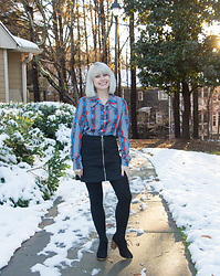 Jamie Rose - Vintage Wide Collar Shirt, H&M Black Denim Mini Skirt, Target Fleece Tights, Forever 21 Oxford Heels - 70s Shirt Returns