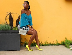 Samjah Iman -  - Blue Top + Yellow Shoes