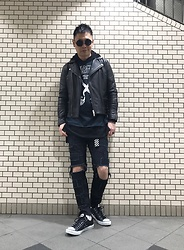 ★masaki★ - Vintage Biker Jacket, Blackflag Tee, Self Remake Crust Pants, Converse Allstar - Street punk trouble maker