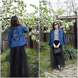 Marijana M - Vipshop Denim Jacket, H&M Tulle Mesh Skirt, H&M Striped T Shirt, H&M Little Black Bag, Vans Old School - Spring Layers