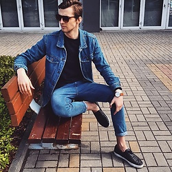 Uldis Antons - Asos Shoes, H&M Jeans, Zara Jumper, Aldo Watch, H&M Denim Jacket, Aldo Sunglasses - Denim x denim type of weather