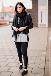Vivian Tse - All Saints Leather Jacket, Stradivarius Top, Mango Blouse, H&M Scarf, Zara Skinnies, H&M Loafers - Leather chic