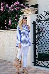 Meagan Brandon - Striped Shirt, White Jeans, Brahmin Bag, Mule Wedges (Similar) - Borrowed from the Boys
