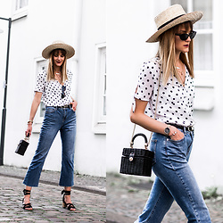Catherine V. - H&M Straw Hat, Pimkie Blouse, Topshop Flare Cropped Jeans, Zara Straw Bag, Sacha Cork Heel Sandals - BANGS AND POLKA DOTS