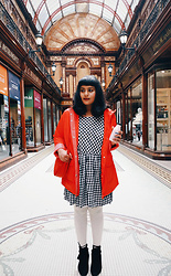 Ragini R - Handmade Gingham Check Dress, George Rain Parka, Bando Amigo Circle Bag, Cream Plus Size Tights, Boohoo Tassel Ankle Boots - Black, white, and red all over