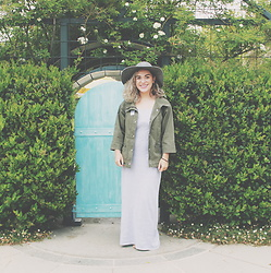 SV - Express Army Jacket, American Apparel Grey Maxi Dress - Little blue door
