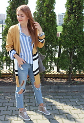 Aleksandra Siara - Lovelywholesale Sweater, Zara Shirt - Stripes