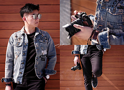 Haikang - Gentle Monster Sunglasses, Zara Denim Jacket - Denim + Shades