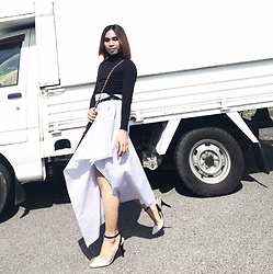 JUN UDAN - Target White Closed Toe Heels, Uniqlo Black Cover Up Inner, Forever 21 Buckle Belt - Wrap skirt