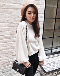 STYLEITNRY -  - Semi-Cropped Teddy Jumper - Cream [韓國女裝] - STYLEITNRY