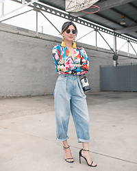 Elizabeth Lee (Stylewich) - Zara Colorful Bodysuit, Chanel Gabrielle Bag, Levi's Barrel Jeans, Stuart Weitzman Nudistsong Sandals - Colorful 80's