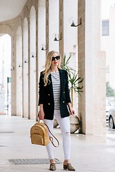 Meagan Brandon - Double Breasted Blazer, Striped Tee, White Jeans, Brahmin Backpack, Leopard Mules - Spring Parisian Vibes