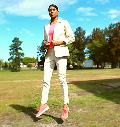 Meagan Duckitt - Foschini Stone Sateen Blazer, Jenny Button Stone Sateen Trouser, Fitflopsa Sneakers, H And M Long Sleeve T - Sleek Suiting