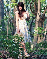 Isabella David - Revolve Sundress, Cult Gaia Bamboo Bag - A Walk in the Woods