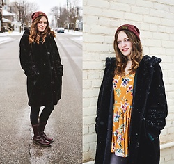 Raquel Teichroeb - Urban Outfitters Orange Floral Long Sleeve Dress, Vintage Faux Fur Winter Coat, Dr. Martens Doc Maroon Vegan Leather Boots, Burton Red Beanie - Transduction