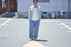 Hideki. Mn - Roundabout L/S Open Coller Wide Shirt, Roundabout Cotton Tank Top, Roundabout Denim Big Bolloon Pants, Pras Shellcap Color Low - Japanese fashion 68
