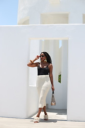 Monroe Steele - Zara Skirt, Tibi Shoes, Mango Clear Bag, Cult Gaia Wooden Bracelet - Rooftops in Tulum Mexico