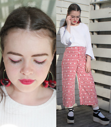 Siri ♧ - Wego Cherry Earrings, Ray Ban Glasses, Weekday White Top, Zara Gingham Pants, Tokyo Bopper Platforms - Cherries