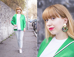 Julia F. - Green V Neck Cardigan, Asos T Shirt, Mohito Bag - Green cardigan