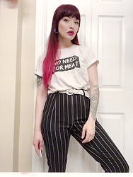 Samantha Elise - Wholesome Culture No Need For Meat, Forever 21 Pinstripe Trousers, Woven Belt - Power Pants